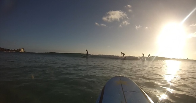 Surfing at Waikiki Beach